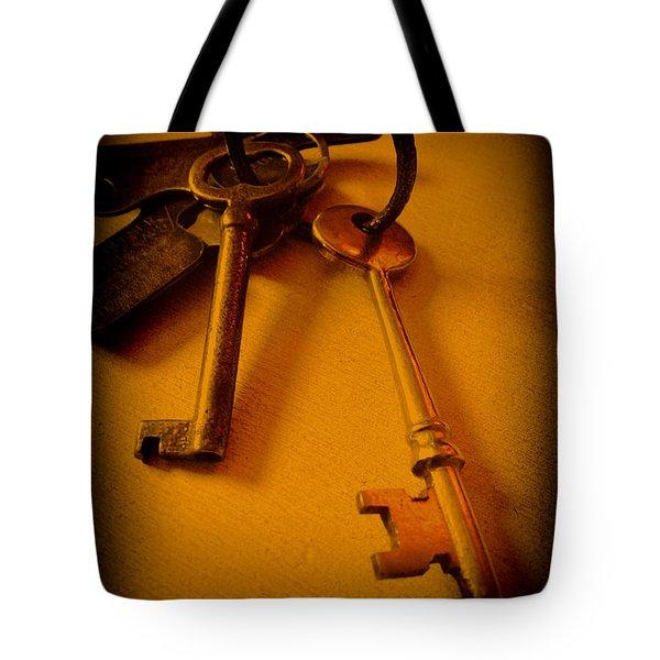Vintage Keys Deep Antiqued Vignette Tote Bag