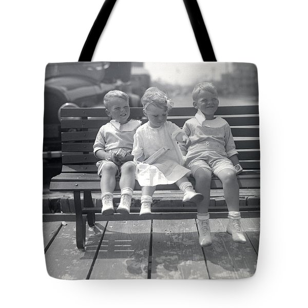 Vintage Kids On Bench Tote Bag