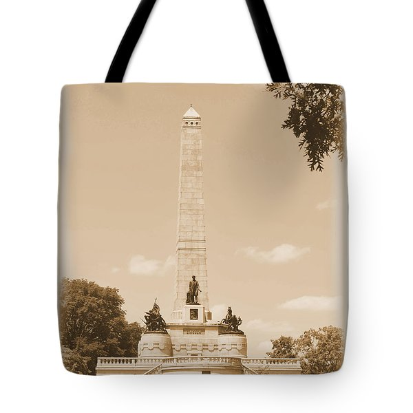 Vintage Lincoln's Tomb Tote Bag by Luther Fine Art