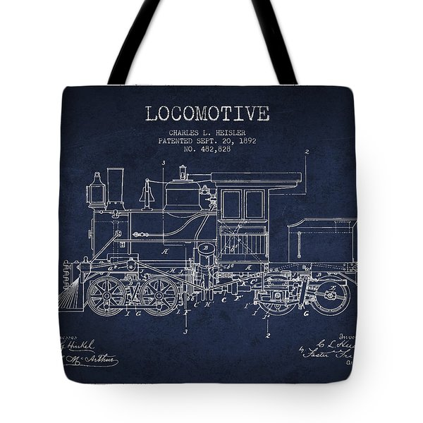 Vintage Locomotive Patent From 1892 Tote Bag