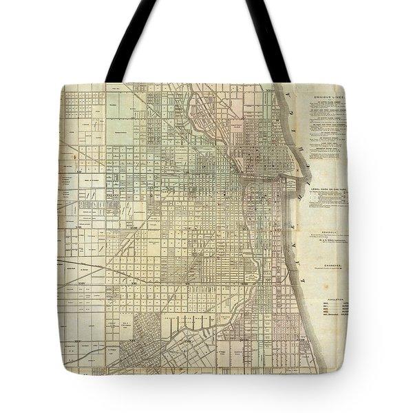 Vintage Map Of Chicago - 1857 Tote Bag