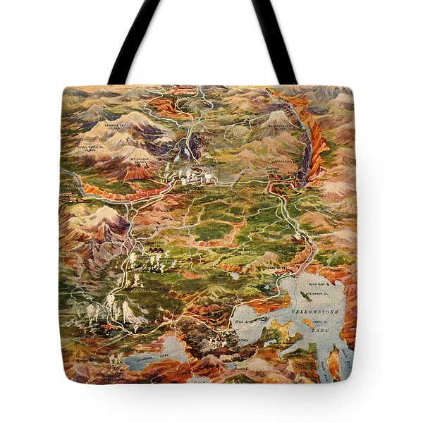 Vintage Map Of Yellowstone National Park Tote Bag