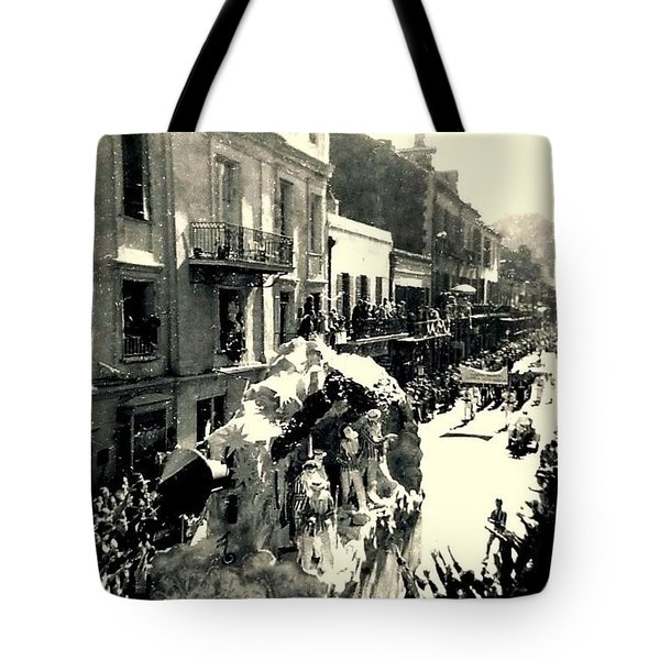 Tote Bag featuring the photograph New Orleans Vintage Mardi Gras In The French Quarter Of  Louisiana  1960 by Michael Hoard