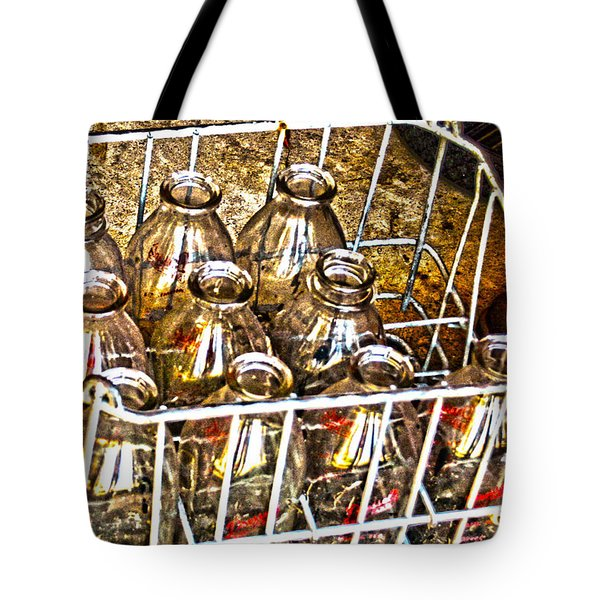 Tote Bag featuring the photograph Vintage Milk Bottles In A Crate   by Lesa Fine