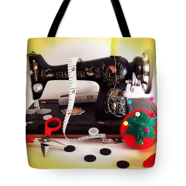Vintage Mini Sewing Machine Tote Bag by Shawna Rowe