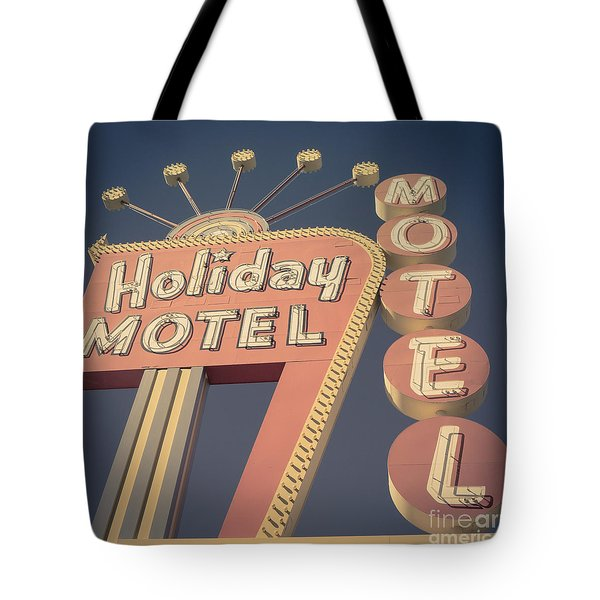Vintage Motel Sign Square Tote Bag by Edward Fielding