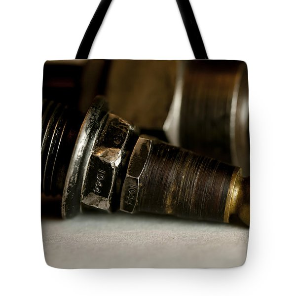 Vintage Motorcycle Spark Plugs Tote Bag by Wilma  Birdwell