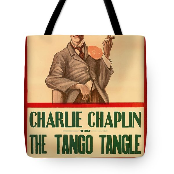 Vintage Movie Poster - Charlie Chaplin In The Tango Tangle 1914 Tote Bag