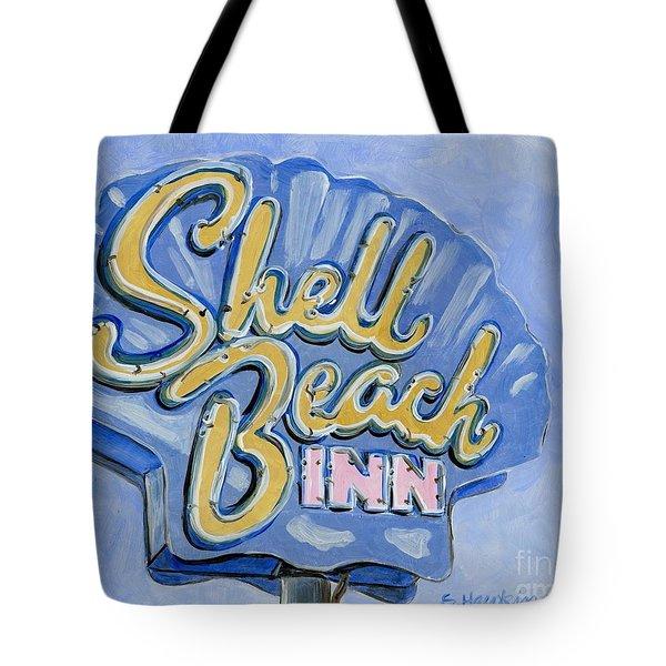 Vintage Neon- Shell Beach Inn Tote Bag by Sheryl Heatherly Hawkins