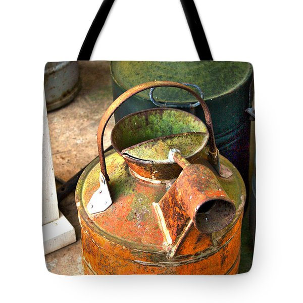 Tote Bag featuring the photograph Vintage Orange And Green Galvanized Containers by Lesa Fine