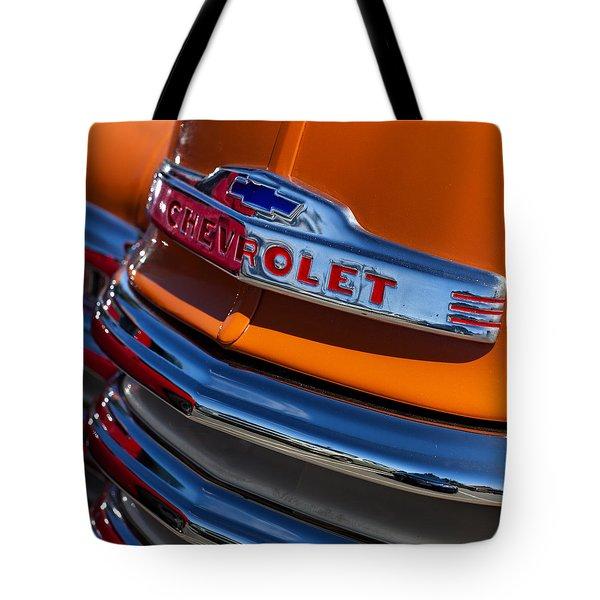 Vintage Orange Chevrolet Tote Bag by Carol Leigh