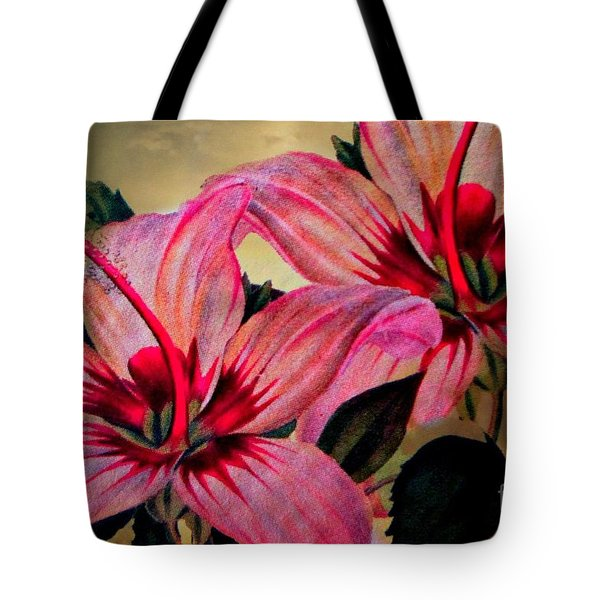 Vintage Painted Pink Lily Tote Bag by Judy Palkimas