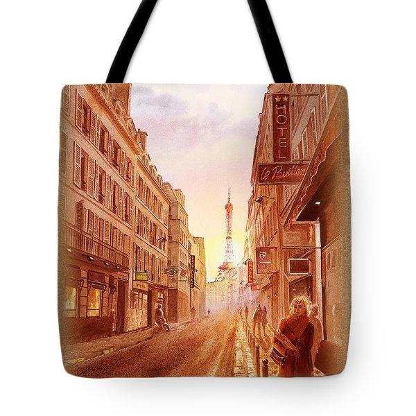 Tote Bag featuring the painting Vintage Paris Street Eiffel Tower View by Irina Sztukowski