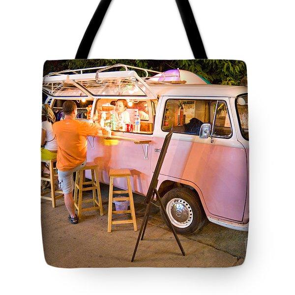 Vintage Pink Volkswagen Bus Tote Bag