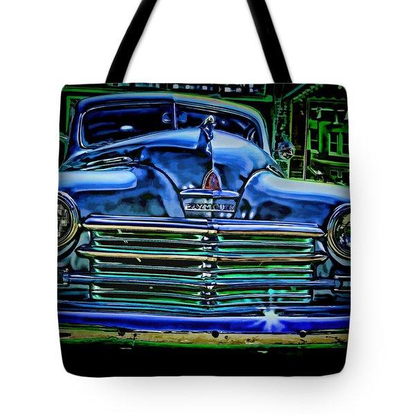 Vintage Plymouth Navy Metalic Art Tote Bag