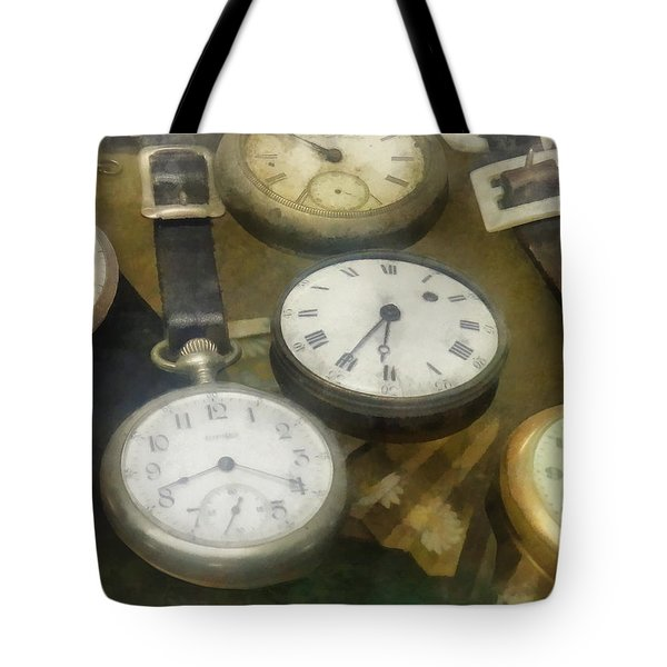 Vintage Pocket Watches Tote Bag by Susan Savad