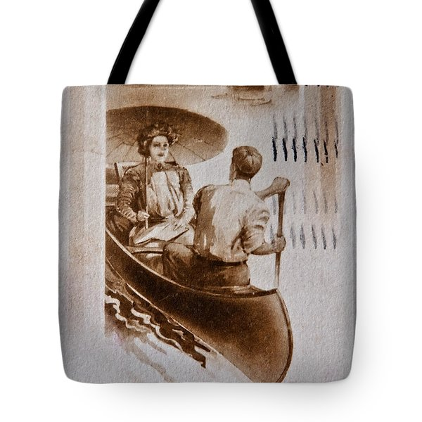Vintage Post Card Of Couple In Boat Art Prints Tote Bag