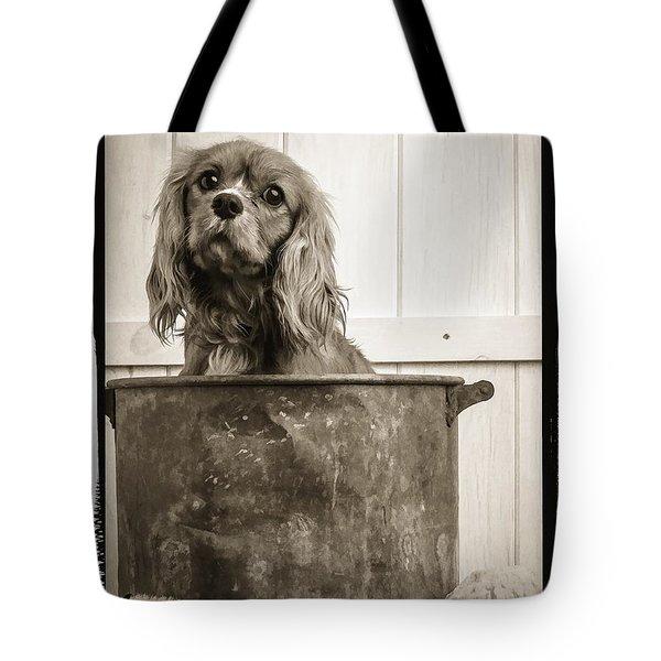 Vintage Puppy Bath Tote Bag by Edward Fielding