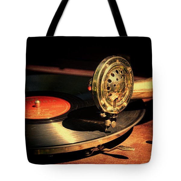 Vintage Record Player Tote Bag by Jill Battaglia