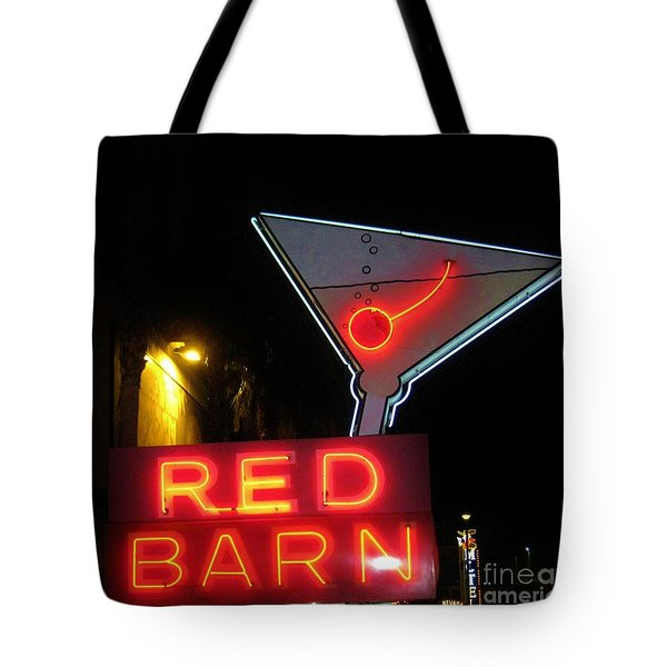 Vintage Red Barn Neon Sign Las Vegas Tote Bag by John Malone