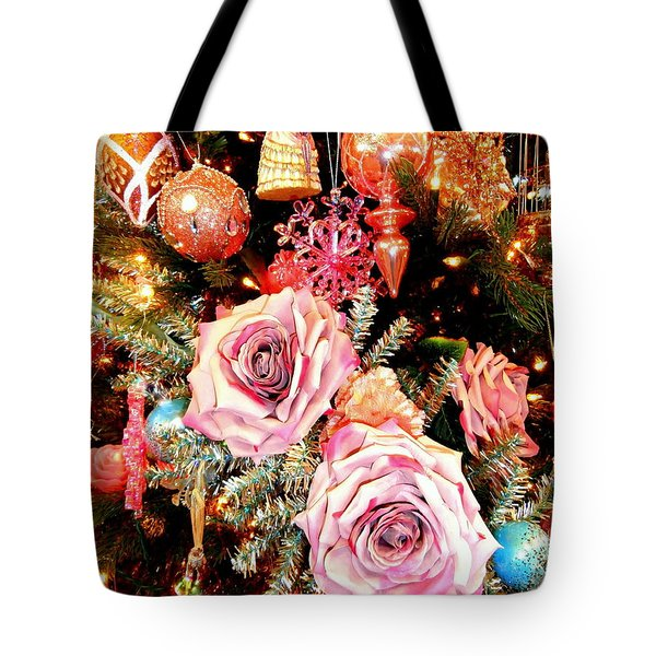 Vintage Rose Holiday Decorations Tote Bag by Janine Riley