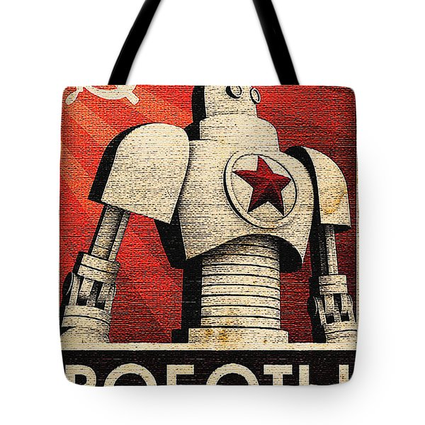 Vintage Russian Robot Poster Tote Bag by R Muirhead Art