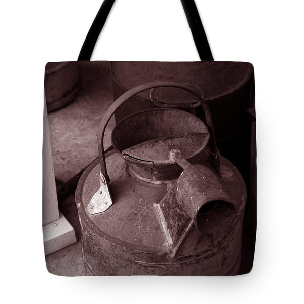 Tote Bag featuring the photograph Vintage Sepia Galvanized Container by Lesa Fine