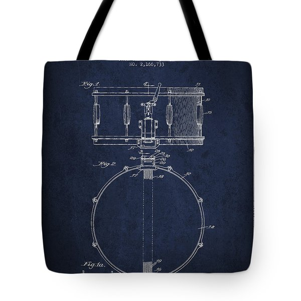 Snare Drum Patent Drawing From 1939 - Blue Tote Bag