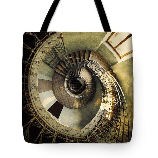 Vintage Spiral Staircase Tote Bag by Jaroslaw Blaminsky