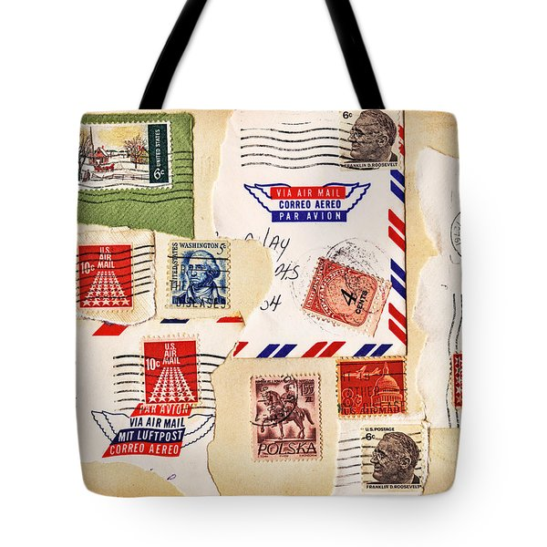 Tote Bag featuring the photograph Vintage Stamps On Old Postcard by Vizual Studio
