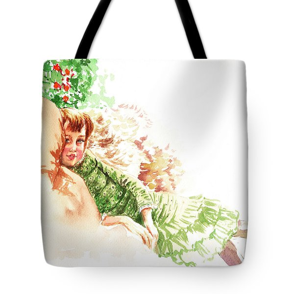 Tote Bag featuring the painting Vintage Study Lilian Of James Tissot by Irina Sztukowski