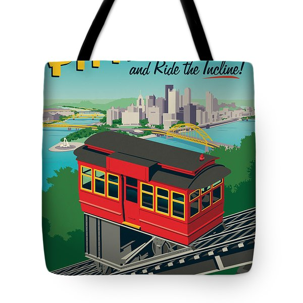 Vintage Style Pittsburgh Incline Travel Poster Tote Bag by Jim Zahniser