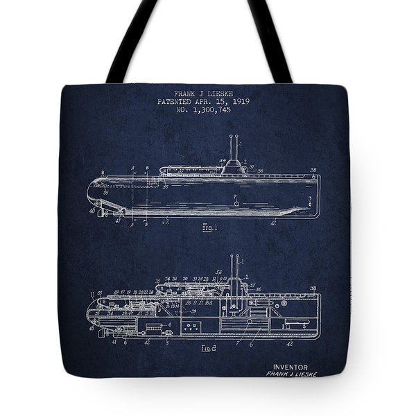 Vintage Submarine Patent From 1919 Tote Bag