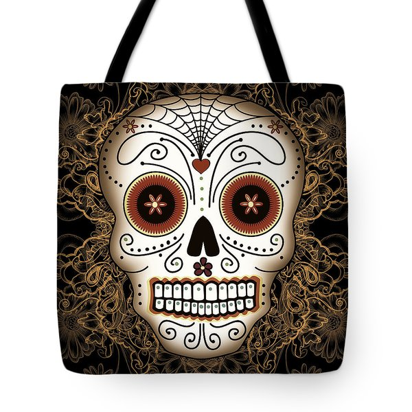 Vintage Sugar Skull Tote Bag by Tammy Wetzel