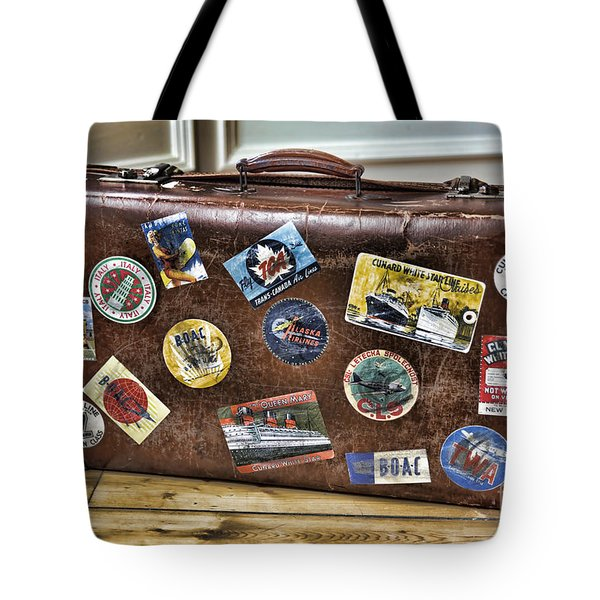 Tote Bag featuring the photograph Vintage Suitcase With Labels by Craig B