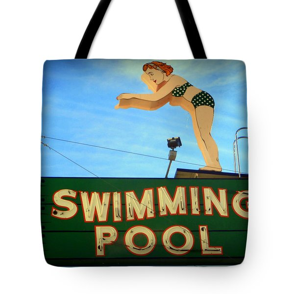 Vintage Swimming Lady Hotel Sign Tote Bag by Karyn Robinson