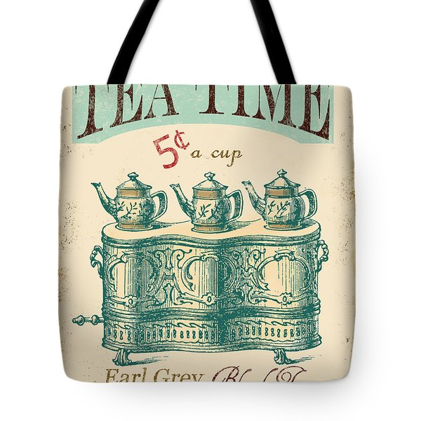 Vintage Tea Time Sign Tote Bag by Jean Plout
