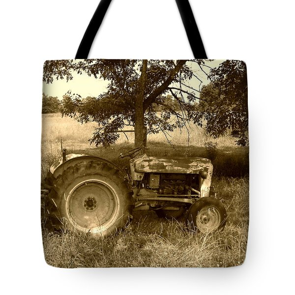 Vintage Tractor In Sepia Tote Bag