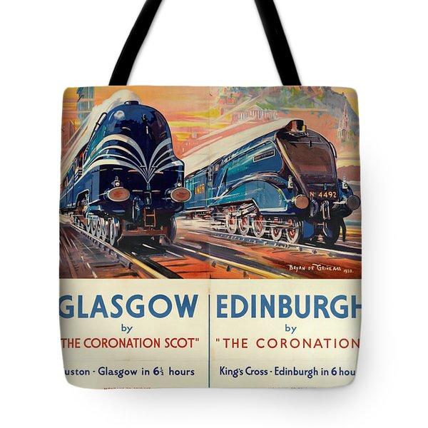 Vintage Train Travel - Glasgow And Edinburgh Tote Bag