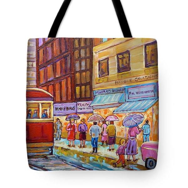 Vintage Tram Car-montreal Downtown Scene-classic Chevy Car Tote Bag by Carole Spandau