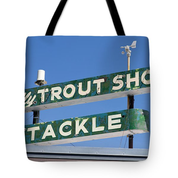Vintage Trout Shop Sign West Yellowstone Tote Bag