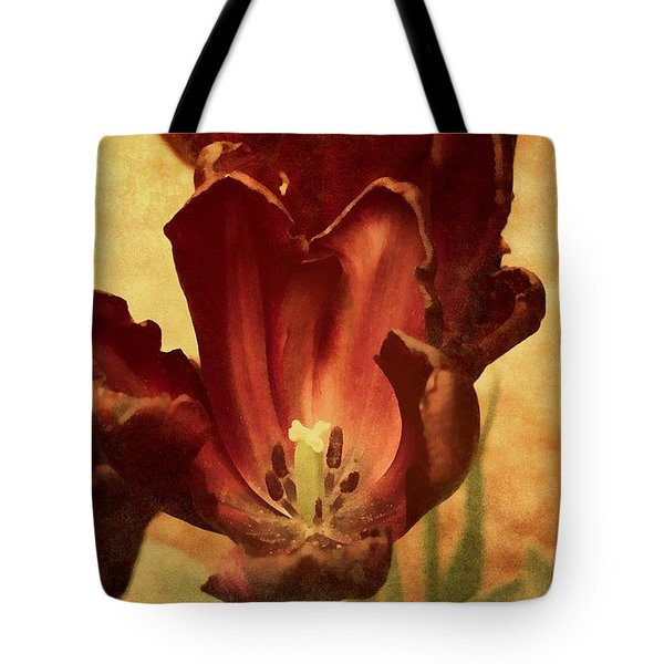 Tote Bag featuring the mixed media Vintage Tulips by Isabella Howard