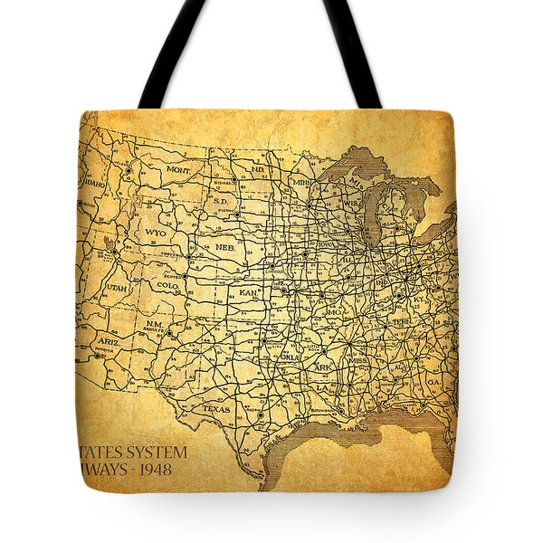Vintage United States Highway System Map On Worn Canvas Tote Bag by Design Turnpike