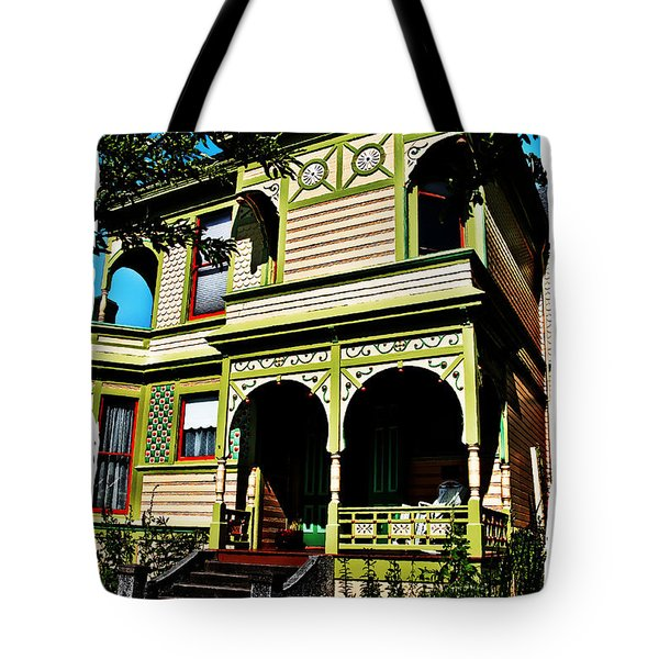 Tote Bag featuring the digital art Vintage Victorian Home Watercolor Style Art Prints by Valerie Garner