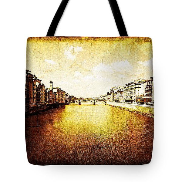 Vintage View Of River Arno Tote Bag