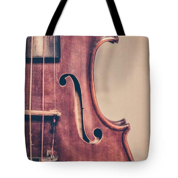 Vintage Violin Portrait 2 Tote Bag by Emily Kay