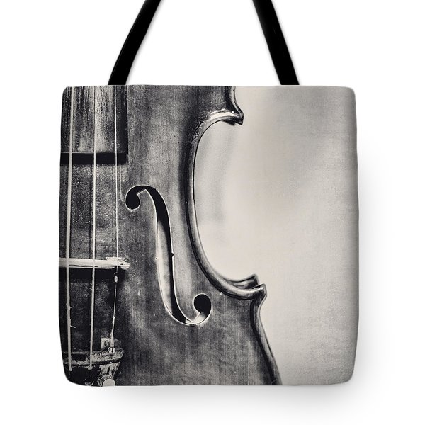 Vintage Violin Portrait In Black And White Tote Bag
