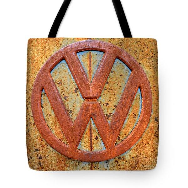 Vintage Volkswagen Bus Logo Tote Bag by Catherine Sherman