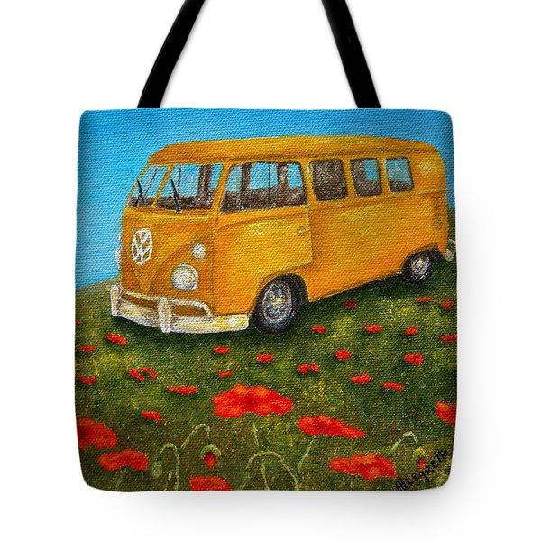 Vintage Vw Bus Tote Bag by Pamela Allegretto