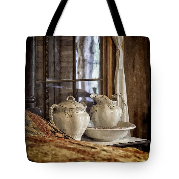 Vintage Wash Bowl And Pitcher Tote Bag by Lynn Palmer